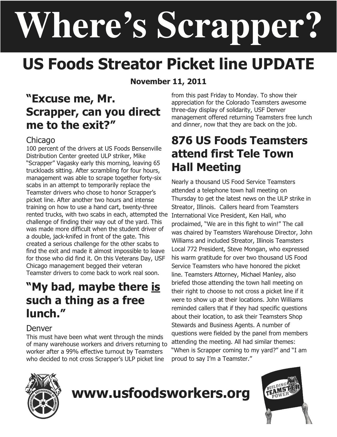 Update on US Foods Streator (IL) Picket Line